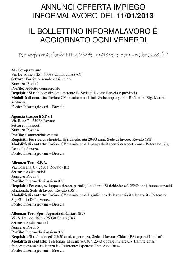 ANNUNCI OFFERTA IMPIEGO             INFORMALAVORO DEL 11/01/2013           IL BOLLETTINO INFORMALAVORO È               AGG...