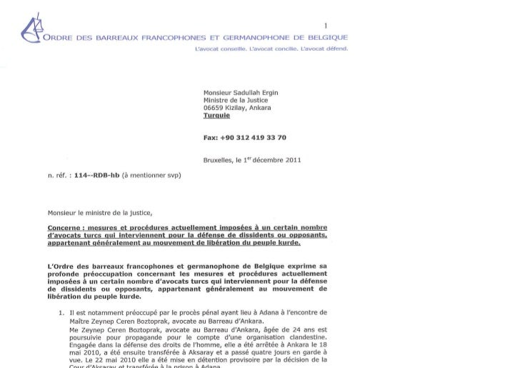 01.12.2011 lettre au ministre de la justice de turquie