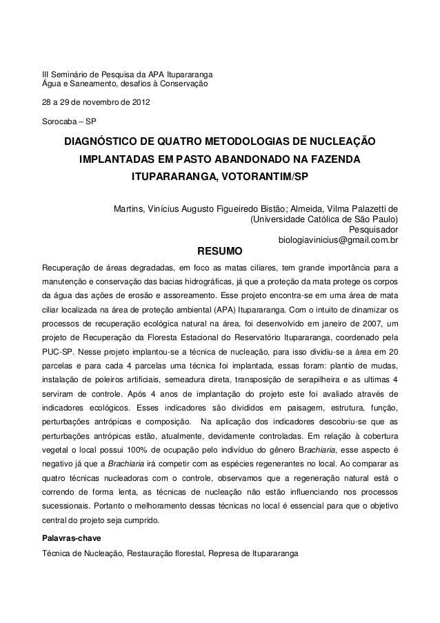 III Seminário de Pesquisa da APA ItupararangaÁgua e Saneamento, desafios à Conservação28 a 29 de novembro de 2012Sorocaba ...