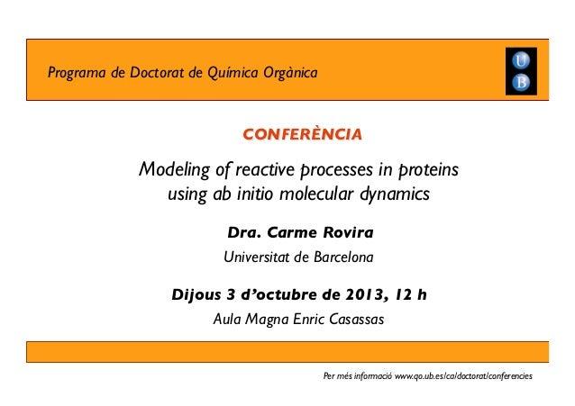 Conferència de la Carme Rovira, membre de l'IQTCUB (04.10.13)