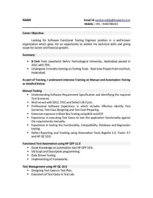 Resume for developer tester