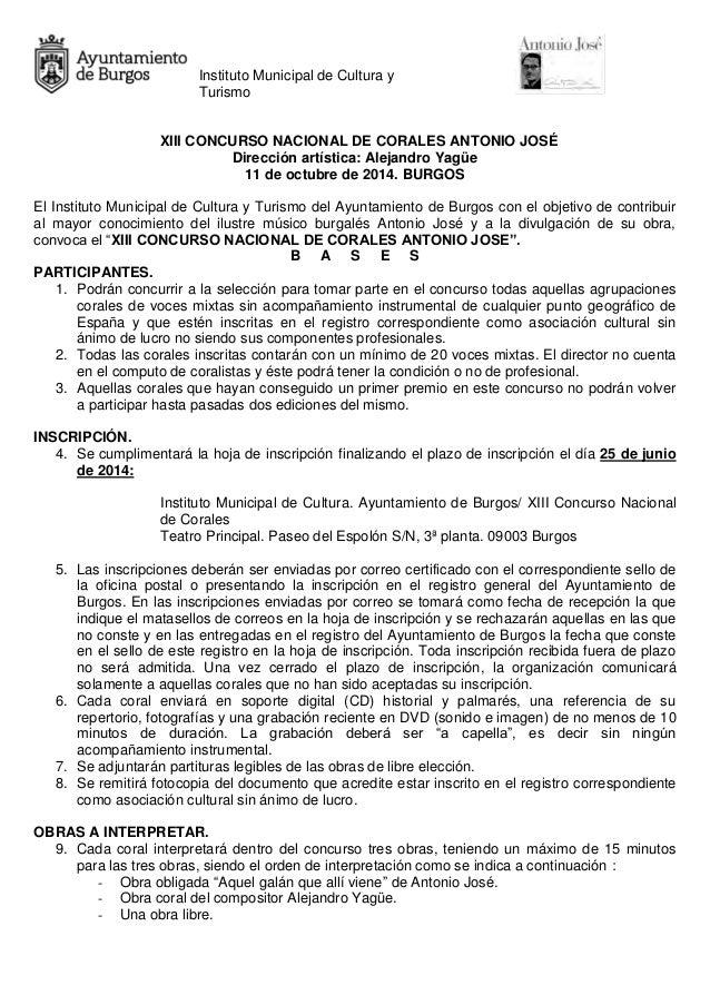 Instituto Municipal de Cultura y Turismo XIII CONCURSO NACIONAL DE CORALES ANTONIO JOSÉ Dirección artística: Alejandro Yag...