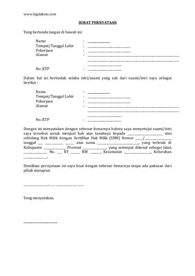 90 Free Download Contoh Surat Persetujuan Ahli Waris Jual