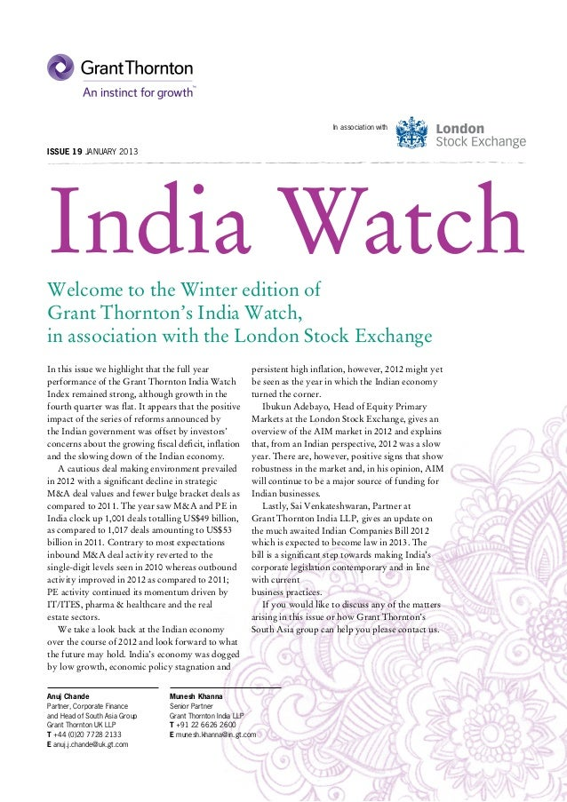 In association withIssue 19 JANUARY 2013India WatchWelcome to the Winter edition ofGrant Thornton's India Watch,in associa...