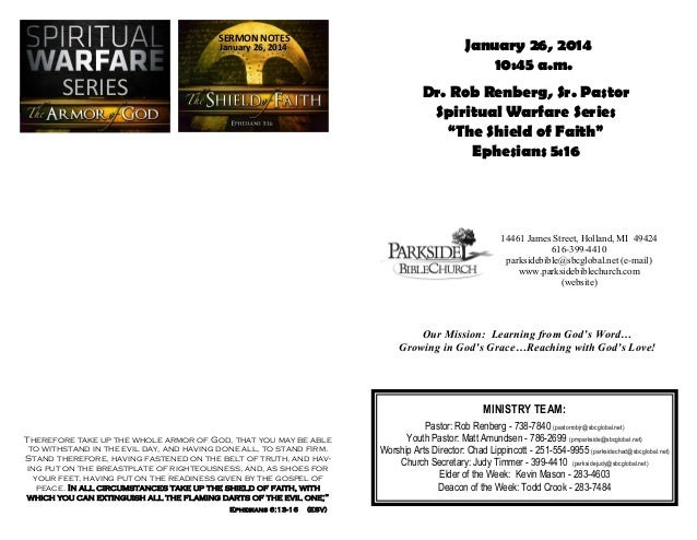 SERMON NOTES  January 26, 2014 10:45 a.m.  January 26, 2014  SERIES  Dr. Rob Renberg, Sr. Pastor Spiritual Warfare Series ...