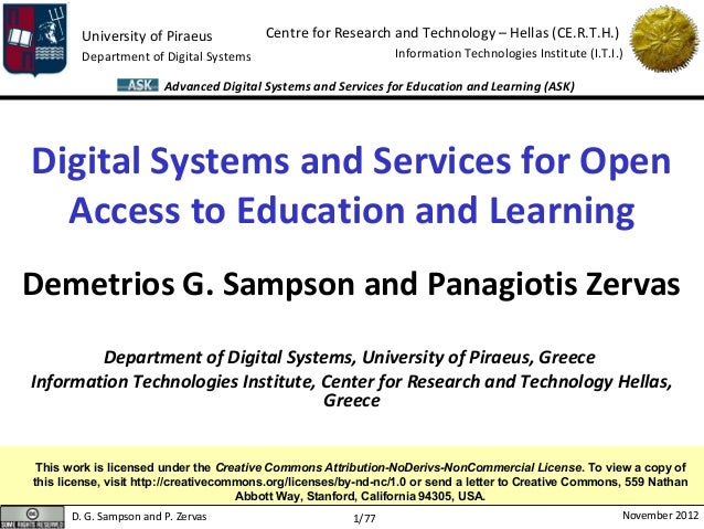 Digital Systems and Services for Open Access to Education and Learning