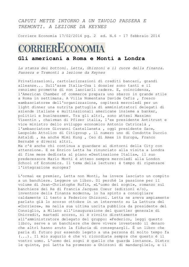 Massimo Caputi Prelios - Passera e Tremonti intorno a un tavolo a lezione da Keynes