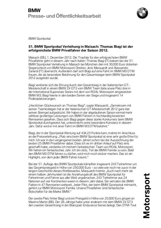 BMWPresse- und ÖffentlichkeitsarbeitBMW Sportpokal51. BMW Sportpokal Verleihung in Maisach: Thomas Biagi ist dererfolgreic...