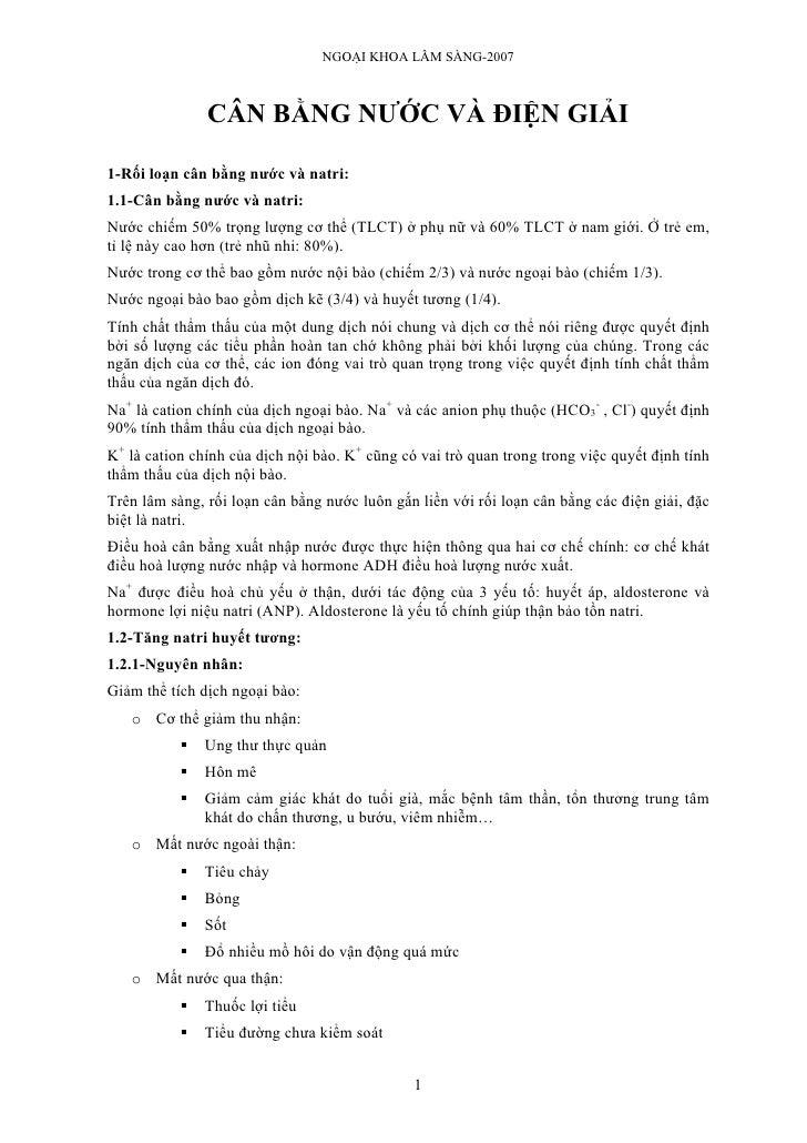 NGOẠI KHOA LÂM SÀNG-2007                   CÂN BẰNG NƯỚC VÀ ĐIỆN GIẢI  1-Rối loạn cân bằng nước và natri: 1.1-Cân bằng nướ...