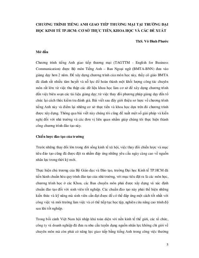CHƯƠNG TRÌNH TIẾNG ANH GIAO TIẾP THƯƠNG MẠI TẠI TRƯỜNG ĐẠIHỌC KINH TẾ TP.HCM: CƠ SỞ THỰC TIỄN, KHOA HỌC VÀ CÁC ĐỀ XUẤT    ...