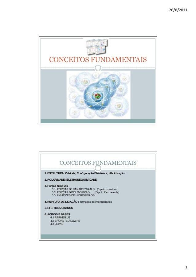26/8/2011   CONCEITOS FUNDAMENTAIS           CONCEITOS FUNDAMENTAIS1. ESTRUTURA: Orbitais, Configuração Eletrônica, Hibrid...