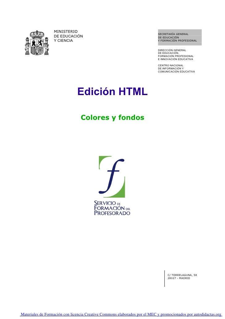 01. Edicion Html. La Base Edicion Html. Colores Y Fondos   0001