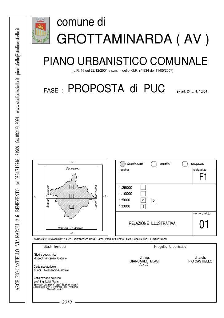 GROTTAMINARDA (AV) – PROPOSTA DI PUC - 2010    Nota introduttiva sul procedimento in corso per la formazione della Propost...