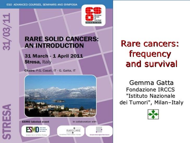 """Rare cancers:  frequency  and survival Gemma Gatta Fondazione IRCCS  """"Istituto Nazionale  dei Tumori"""", Milan–Italy"""