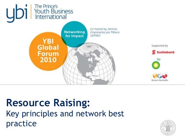 TUESDAY. Resource Raising: Key principles and examples of YBI Network best practice.