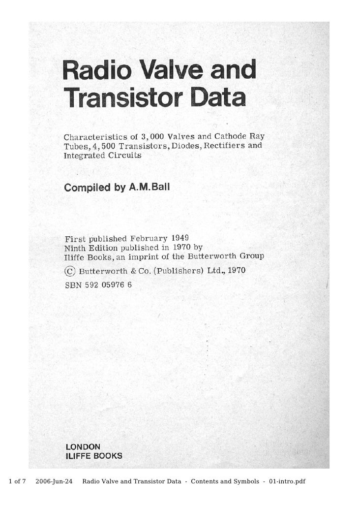 Valve & Transistor Data, pt 01 Introduction & Units