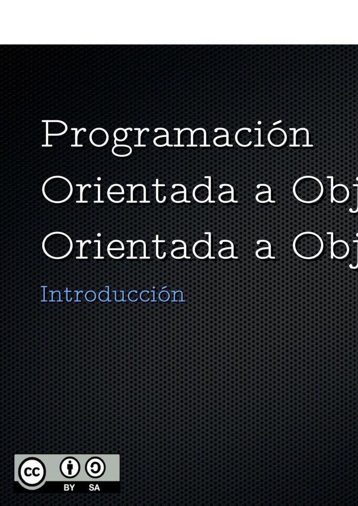 01 Introduccion Programación Orientaeda a Objetos