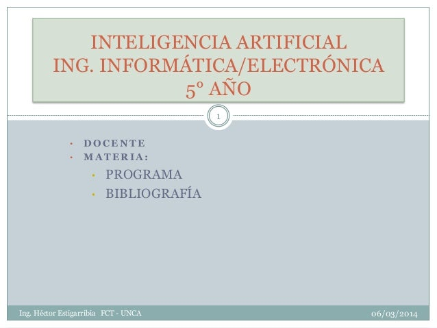Inteligencia Artificial: Introducción - Reseña Histórica