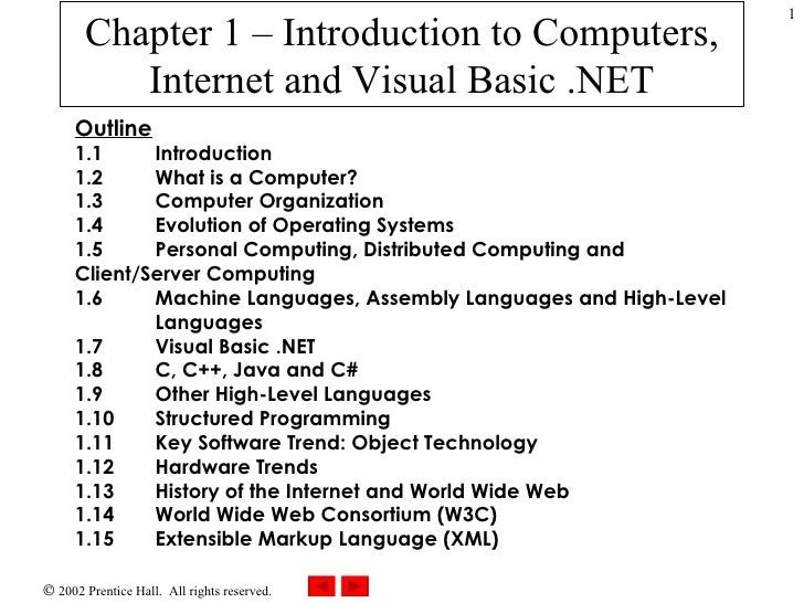 Chapter 1 – Introduction to Computers, Internet and Visual Basic .NET Outline 1.1 Introduction 1.2 What is a Computer? 1.3...