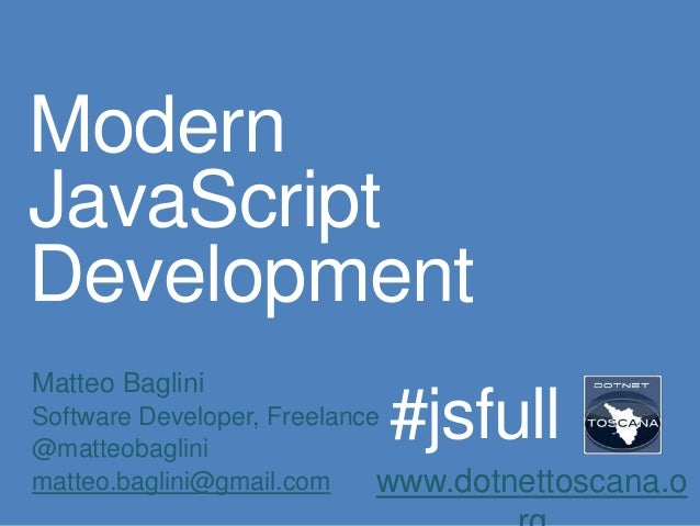 Modern JavaScript Development @ DotNetToscana