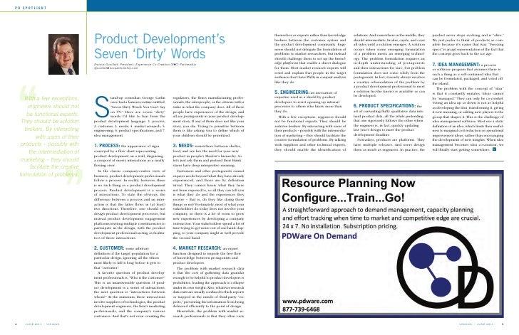 PD SPOTLIGHT                                    Product Development's                                    Seven 'Dirty' Wor...
