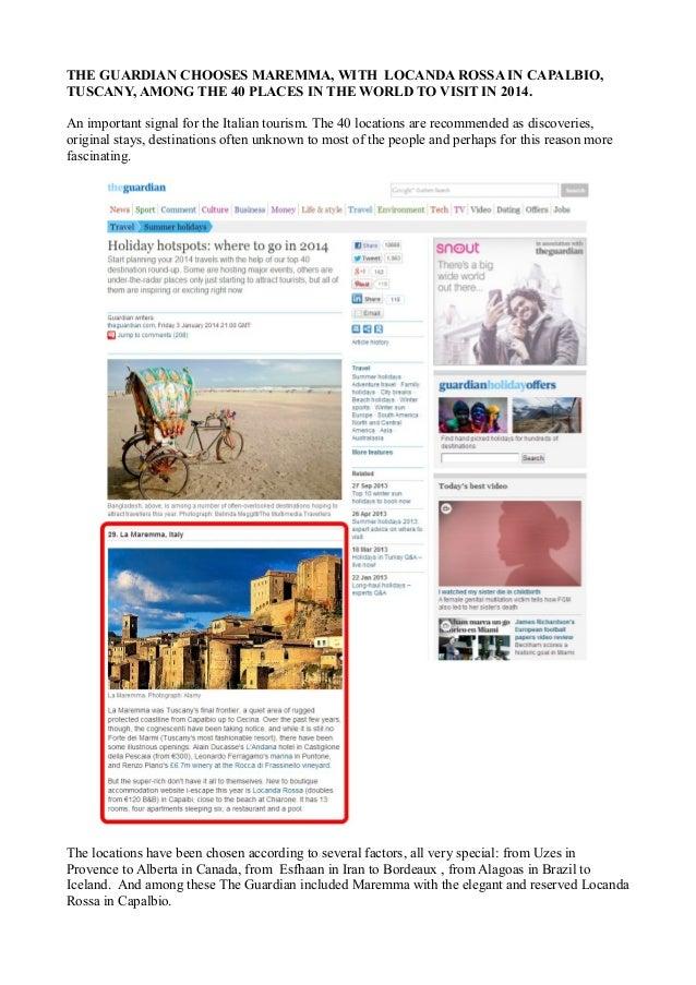 Capalbio - Il magazine The Guardian sceglie Locanda Rossa tra i 40 posti nel mondo dove andare nel 2014