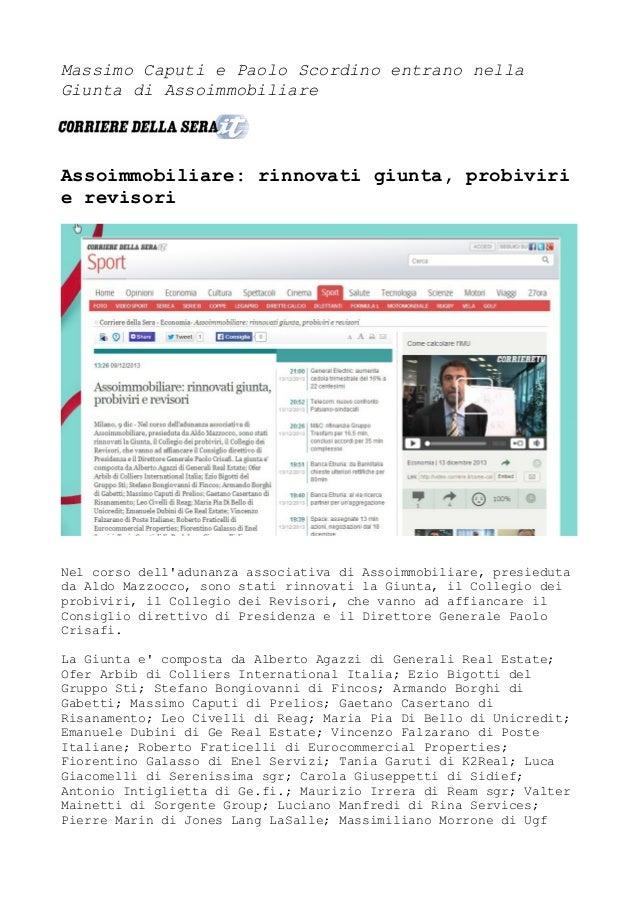 Massimo Caputi e Paolo Scordino entrano nella Giunta di Assoimmobiliare  Assoimmobiliare: rinnovati giunta, probiviri e re...