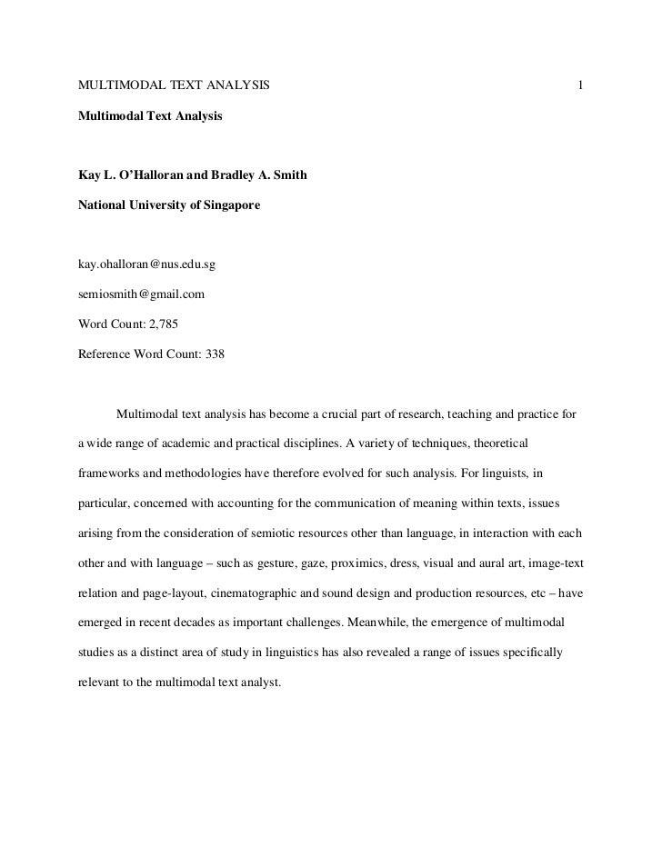 MULTIMODAL TEXT ANALYSIS                                                                              1Multimodal Text Ana...