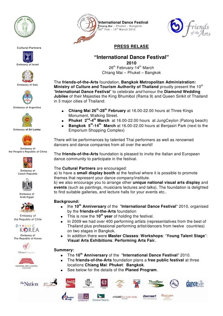 Press Release International Dance Festival 2010