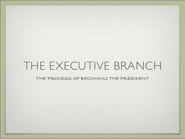 THE EXECUTIVE BRANCH THE PROCESS OF BECOMING THE PRESIDENT