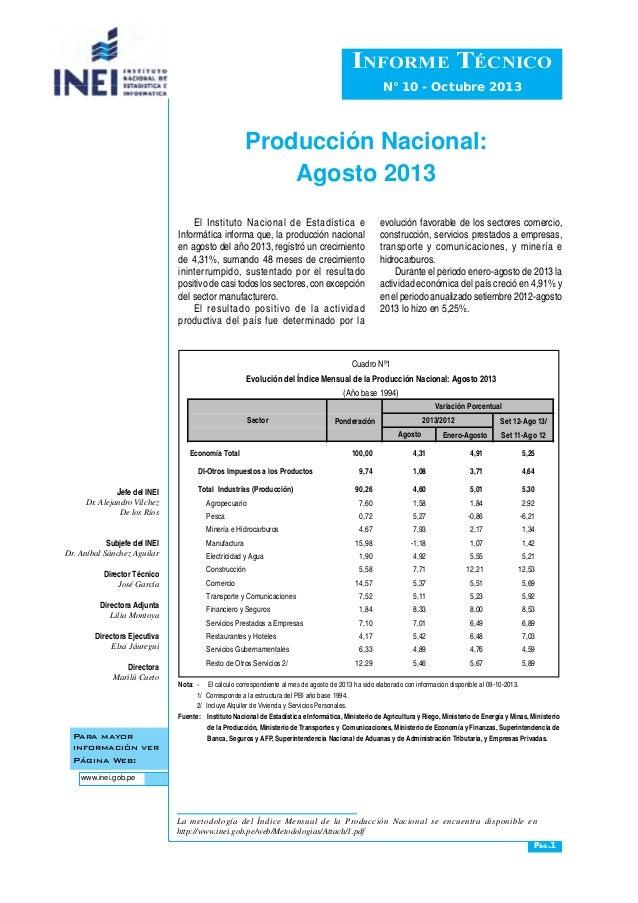 Producción Nacional: Agosto 2013 Para mayor información ver Página Web: www.inei.gob.pe Informe Técnico N° 10 - Octubre 20...