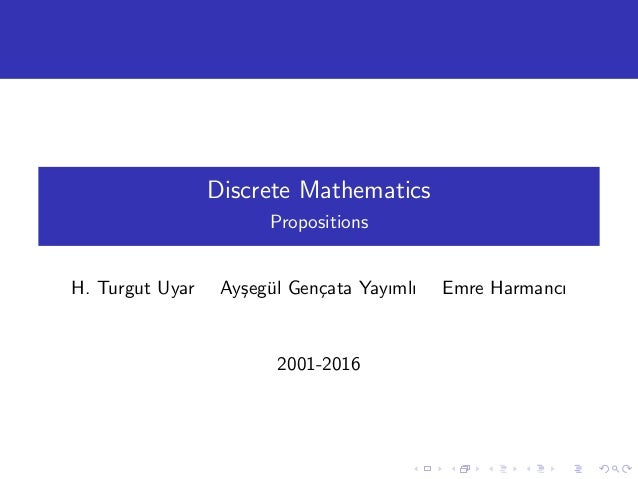 Discrete Mathematics - Propositions