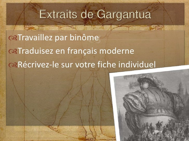 Travaillez par binôme<br />Traduisez en français moderne<br />Récrivez-le sur votre fiche individuel<br />Extraits de Garg...