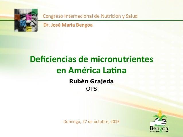 Congreso  Internacional  de  Nutrición  y  Salud   Dr.  José  María  Bengoa    Deficiencias  de  mi...