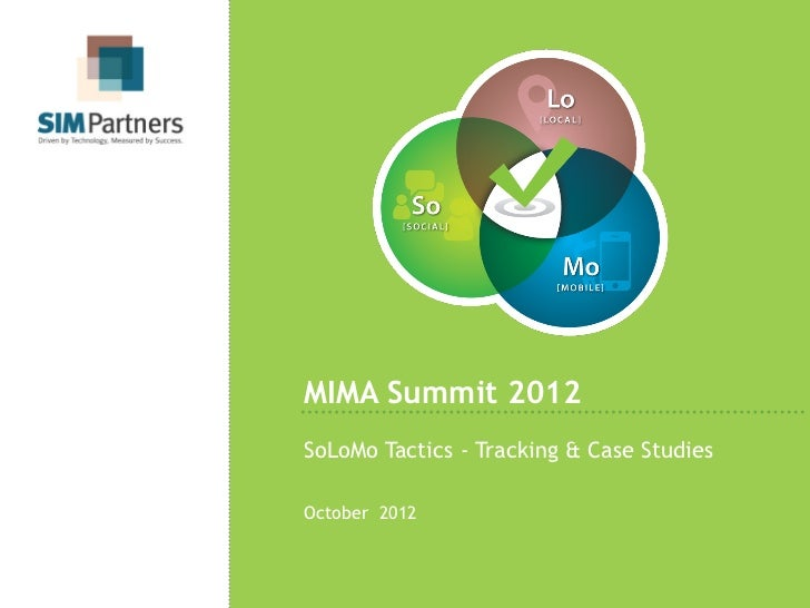 MIMA Summit 2012SoLoMo Tactics - Tracking & Case StudiesOctober 2012