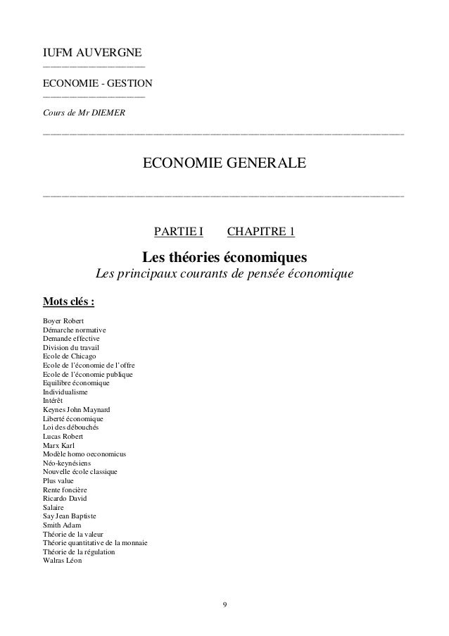 theories economiques