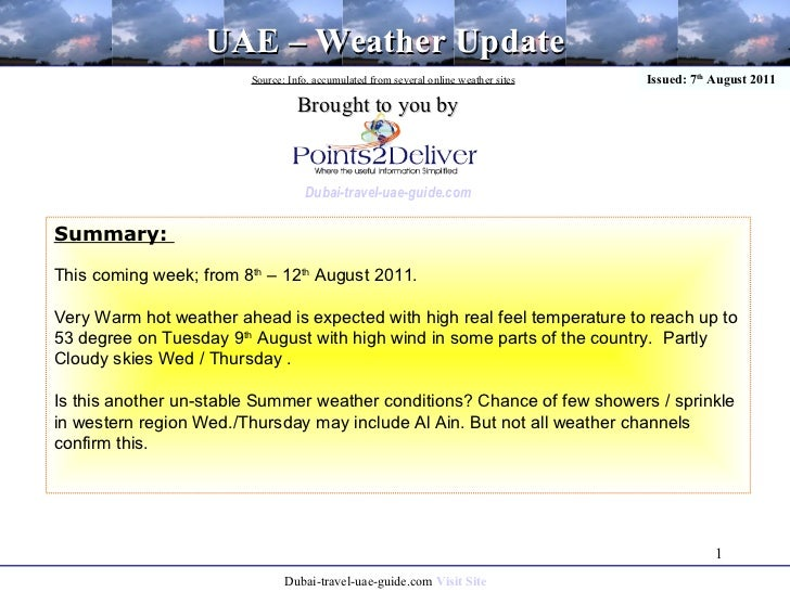 01 UAE Weather update: 8th - 12th Aug 2011
