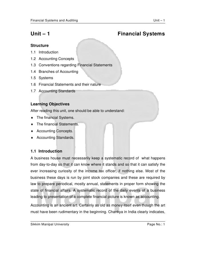 Financial Systems and Auditing                                             Unit – 1Unit – 1                               ...