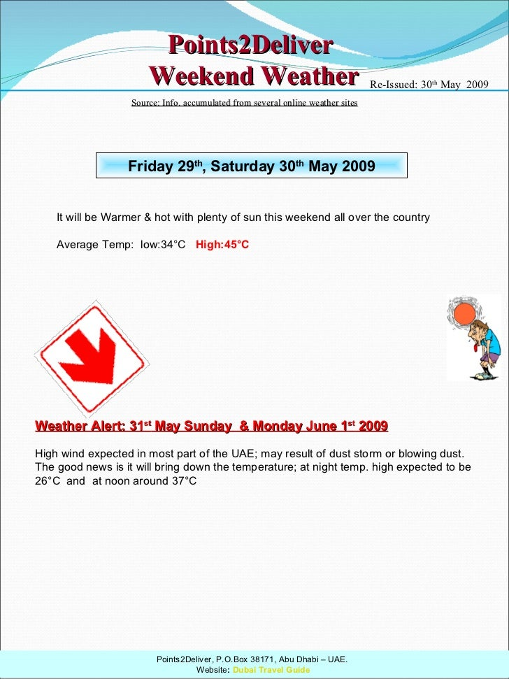 Points2Deliver  Weekend Weather Friday 29 th , Saturday 30 th  May 2009 It will be Warmer & hot with plenty of sun this we...