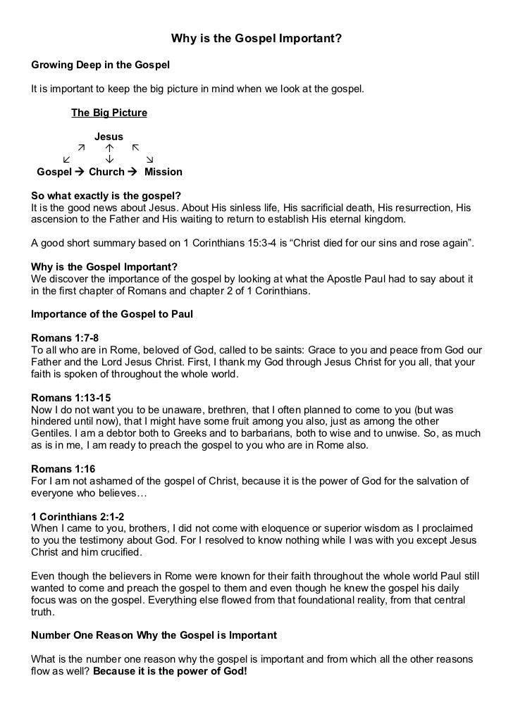 01. Why is the Gospel Important Notes