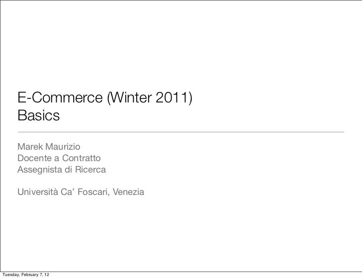 E-Commerce 2012 - Introduction and Basics