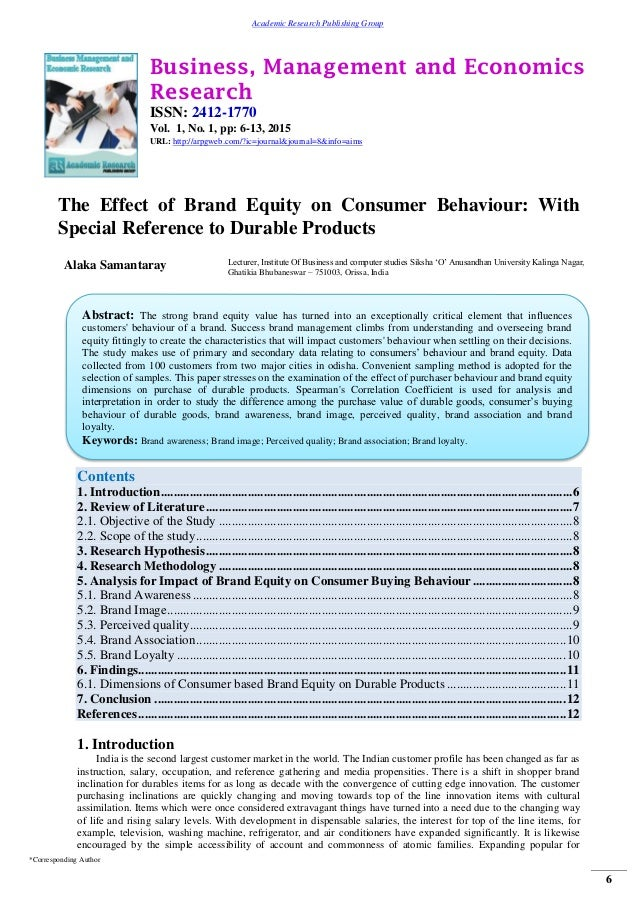 research paper on impact of advertising on consumer behaviour Different advertising effects on purchase behavior of consumers of varying brand  loyalty are investigated  article navigation  journal of consumer research,  volume 9, issue 1, 1 june 1982, pages 77–89, .