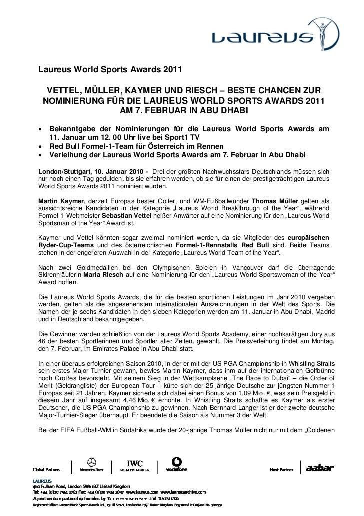 Laureus World Sports Awards 2011     VETTEL, MÜLLER, KAYMER UND RIESCH – BESTE CHANCEN ZUR    NOMINIERUNG FÜR DIE LAUREUS ...