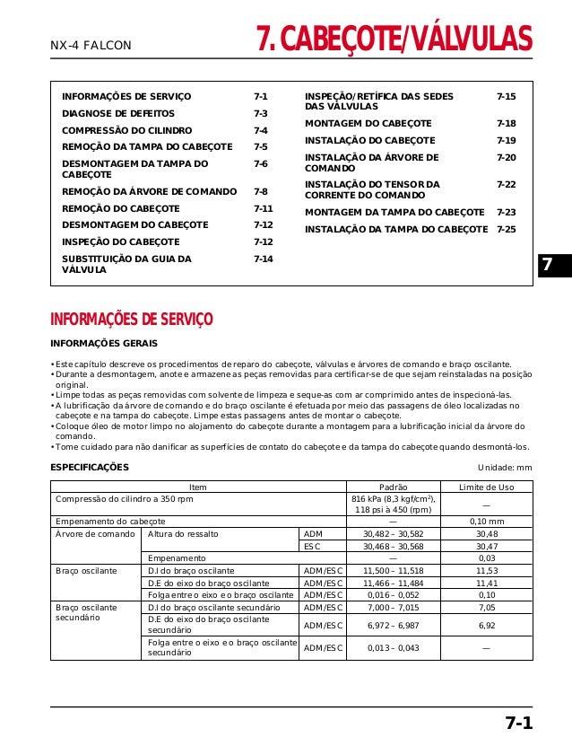 7. CABEÇOTE/VÁLVULAS INFORMAÇÕES DE SERVIÇO 7-1 DIAGNOSE DE DEFEITOS 7-3 COMPRESSÃO DO CILINDRO 7-4 REMOÇÃO DA TAMPA DO CA...