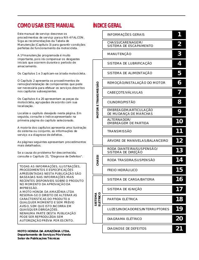 COMO USAR ESTE MANUAL Este manual de serviço descreve os procedimentos de serviço para a NX-4 FALCON. Siga as recomendaçõe...
