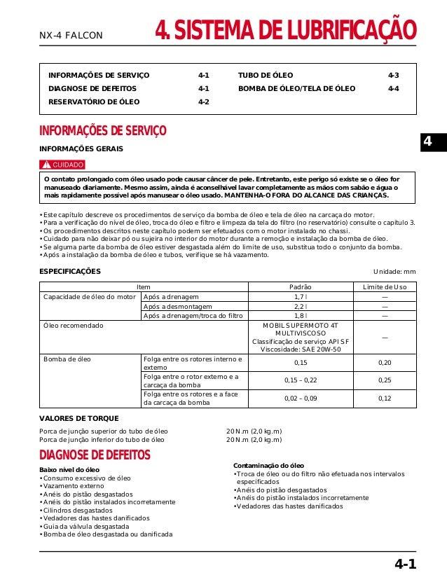 4. SISTEMA DE LUBRIFICAÇÃO INFORMAÇÕES DE SERVIÇO 4-1 DIAGNOSE DE DEFEITOS 4-1 RESERVATÓRIO DE ÓLEO 4-2 TUBO DE ÓLEO 4-3 B...