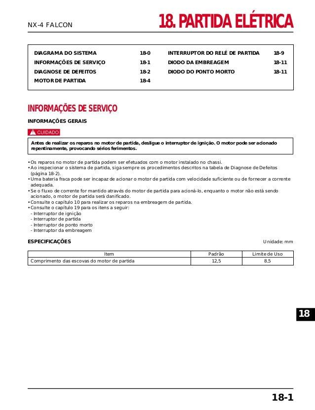 18. PARTIDA ELÉTRICA DIAGRAMA DO SISTEMA 18-0 INFORMAÇÕES DE SERVIÇO 18-1 DIAGNOSE DE DEFEITOS 18-2 MOTOR DE PARTIDA 18-4 ...