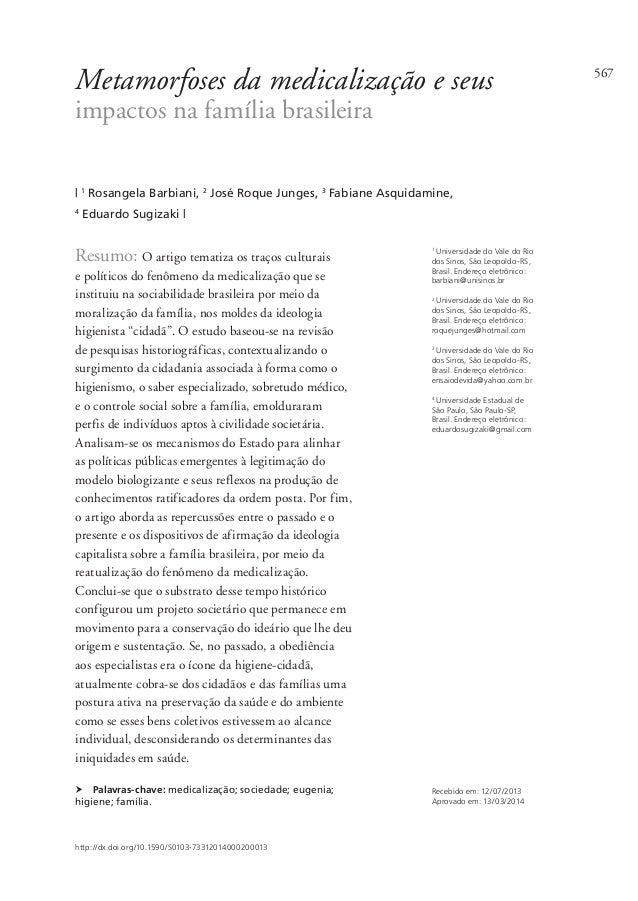 567 Metamorfoses da medicalização e seus impactos na família brasileira   1 Rosangela Barbiani, 2 José Roque Junges, 3 Fab...