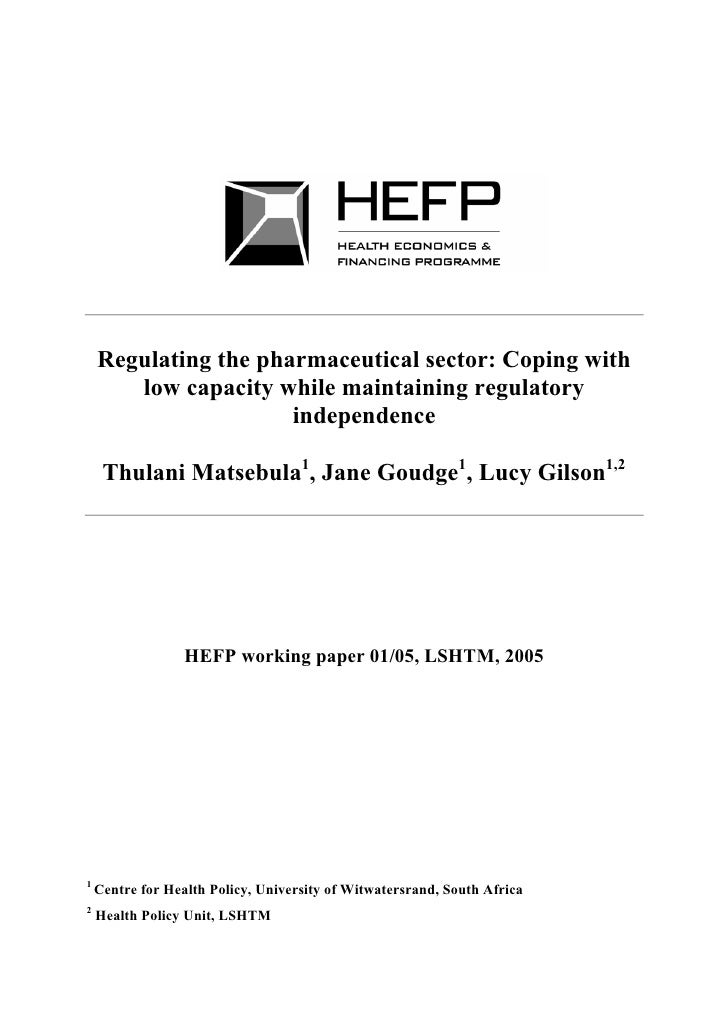 Regulating the pharmaceutical sector: Coping with        low capacity while maintaining regulatory                       i...