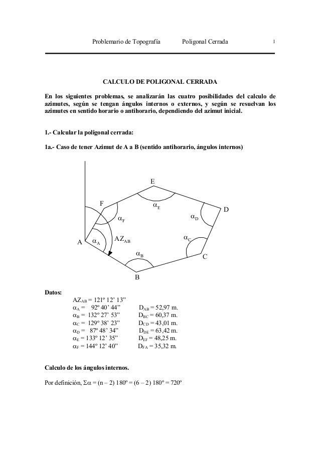 Problemario de Topografía Poligonal Cerrada 1 CALCULO DE POLIGONAL CERRADA En los siguientes problemas, se analizarán las ...